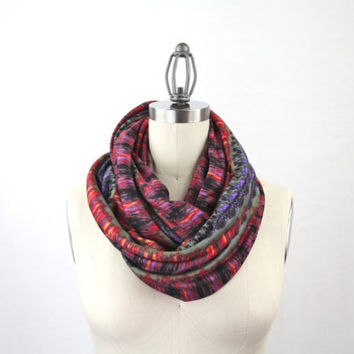 infinity scarf tribal ikat style red scarf double by gertiebaxter