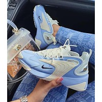 Nike Zoom 2K Fashion Women Men Casual Sport Running Shoes Sneakers White&Blue