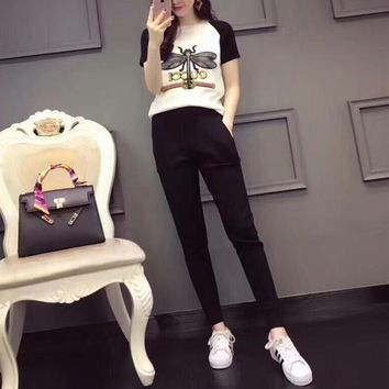 """Gucci"" Women Casual Fashion Knit Dragonfly Letter Embroidery Multicolor Short Sleeve Trousers Set Two-Piece Sportswear"