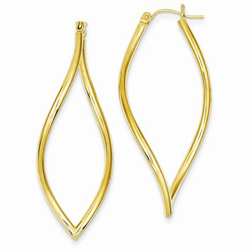 14k Yellow Gold Polished Fancy Tube Hoop Earrings