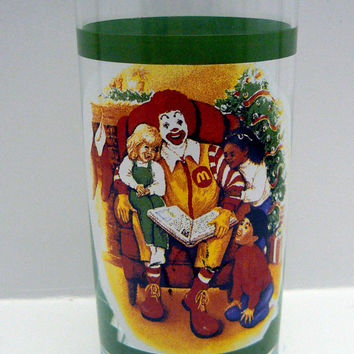 Ronald McDonald Promotional Tea Glass Tumbler Holiday Collector Advertising Christmas Tree Ronald Reading a Story to Children