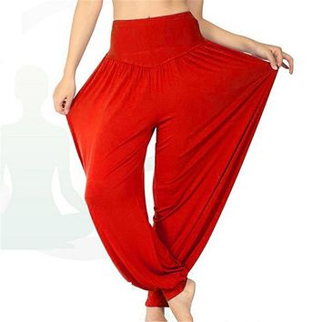 Women Long Pants Harem Modal Dancing Trouses Wide Belly Dance Comfy Boho Plus Size  Fitness Harem Pants KH651417