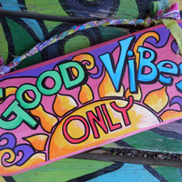 Good vibes, Hippie Home decor, hippie house, good vibes sign, Good vibes only, positive vibes, word art, hippie sign, singleton, your tribe