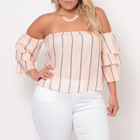 Plus Size Off The Shoulder Stripe Top - Peach