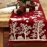 Sleigh Bell Crewel Embroidered Table Runner