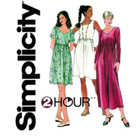 1990s Dress Pattern Uncut Bust 30 to 38 Simplicity 7697 High Waist Dress Day or Evening Sleeve and Neckline Variations Womens Sewing Pattern