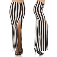 Long Striped Skirt High Waist Slit Open Front Maxi Black & White Fashion S M L