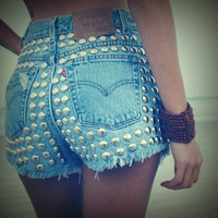 High waist destroyed studded denim frayed shorts size ALL sizes