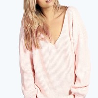 Hannah Oversized V Neck Marl Knit Jumper