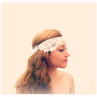 Ivory Hairband for a Bohemian Bride, Wedding Hair Accessories, Ivory Lacey Hair Piece, Ivory Floral Embroidered Tie-on Wedding Hairband
