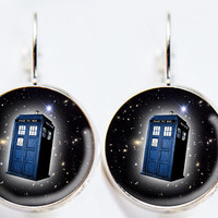 Dr Who Inspired Tardis Earrings - Stars - Public Police Box Jewelry - Geeky Whovian