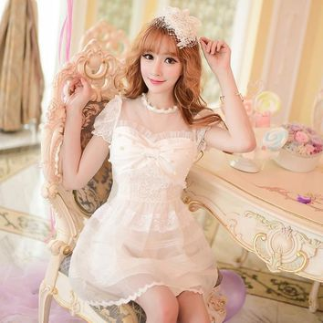 Princess sweet lolita dress Candy rain Japanese style sweet bow lace organza princess dress C16AB6036