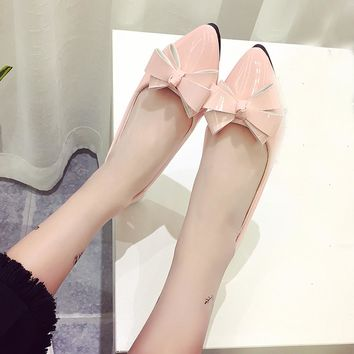 New Fashion Shoes Women Artificial Leather Low Heel Bow Pointed Toe Female Flats Flat Shoes Ballet Flats Ladies Zapatos Mujer