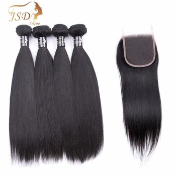 JSDShine Unprocessed Brazilian Straight Human Hair 4 Bundles With Closure Brazilian Human Hair With Lace Closure Hair Extension