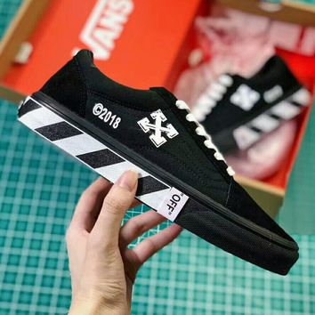VANS X OFF-WHITE New Fashion Women Men Personality Flat Sport Skateboard Shoes I-A50-XYZ