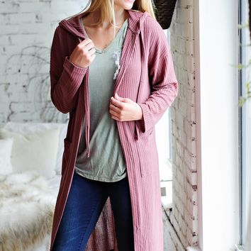 * French Latte Waffle Knit Duster: Mauve