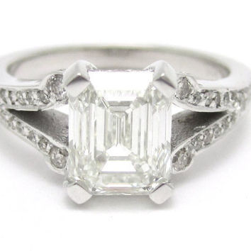 2.04 CARAT emerald cut antique style split shake diamond flanked engagement ring E22