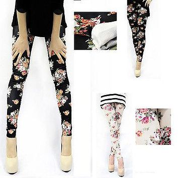 Woman Floral Rose Legging New Sexy Women Jeans Skinny Jeggings Stretchy Slim Leggings Skinny
