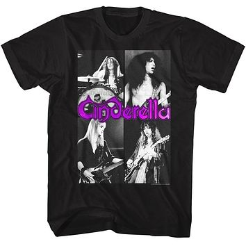 Cinderella Rock Band Tall T-Shirt Action Portraits Black Tee