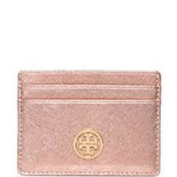 Tory Burch ROBINSON SLIM CARD CASE Rose Gold in Rose Gold - Avenue K