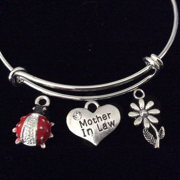 Mother In Law Red Ladybug Expandable Charm Bracelet Wedding Gift Silver Adjustable Bangle Daisy
