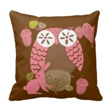 Pink and Brown Owl Pillow