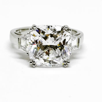 A Perfect 5CT Cushion Cut Russian Lab Diamond Step Cut Trapezoid Stones Engagement Ring