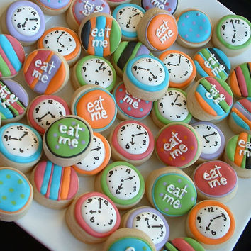 Alice in Wonderland - Eat Me mini cookies - clock mini cookies - 2 dozen