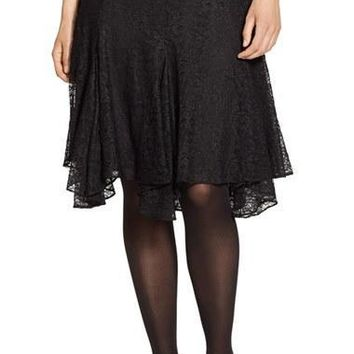Plus Size Women's Lauren Ralph Lauren Chantilly Lace Handkerchief Hem Skirt,