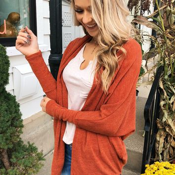 Along We Go Dolman Cardigan- Rust