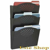 Metal Wall File Organizer 3 Letter Size Pocket Document Organizer Home Office