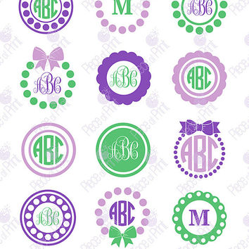 Circle Monogram Frames SVG EPS DXF png Cut Files Cricut Silhouette Studio Vinyl Cutting files Vector Graphic