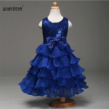 Flower girl dresses  2017 sequins prom dresses for wedding flowers lace up dress floor length bow princess for wedding party