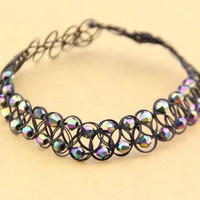 Fashion Rainbow Beads Tattoo Choker Elastic Necklace