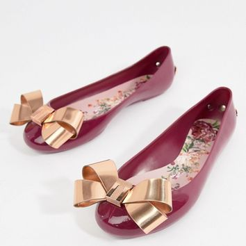 Ted Baker Maroon Bow Detail Ballet Shoes at asos.com