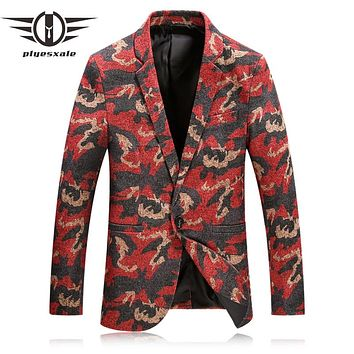 Red Camouflage Blazer Men Casual Suit Jacket Peacock Floral Printed Blazers For Men Vintage Stylish Stage Wear