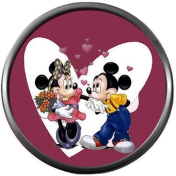 Mickey Mouse And Minnie Mouse Love Hearts Happy Valentines Day Celebrate Holiday 18MM - 20MM Snap Jewelry Charm