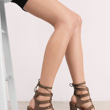 Jillian Suede Lace Up Heel