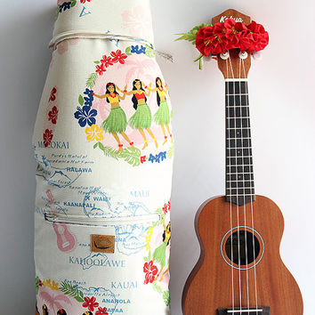 Soprano ukulele case / hula girl white with ribbon lei / ukulele soft case / hawaiian fabric / tropical / surfboard / instrument case