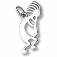 Kokopelli Charm In 14K White Gold