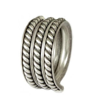Spiraling Wrap Triple Ring, Handmade Sterling Silver Wide Band Ring, Men or Women Adjustable Ring, Also as Thumb ring, Rustic Ethnic Tribal