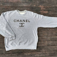 Chanel Paris Big Logo sweatshirt vintage jumper design Luxury style by Vintageartbachok