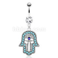Belly Ring Hamsa Hand Turquoise Paved