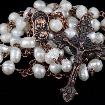 Traditional Rosary Catholic Freshwater Pearl Potato Antique Copper Rustic