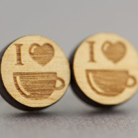 Coffee Lovers Stud Earrings : Cherry Wood Earrings, Round, I Love Coffee, Heart, 12mm