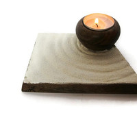 Zen decor, abstract wooden candle holder, hand carved wooden candleholder