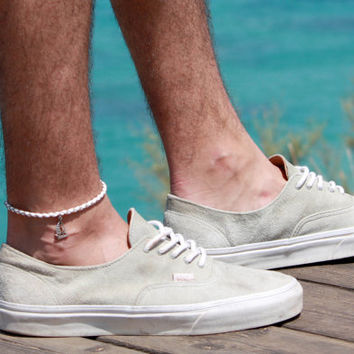 Men's Anklet - Men's Ankle bracelet - Anklet for Men - Ankle Bracelet For Men - Men's Jewelry - Men's White Anklet - Mens Cool Jewelry