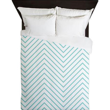 Duvet Cover - Aqua Chevron Duvet Cover - Glamour Decor - Fashion Decor - Dorm Decor - Teen Room Decor - Girls Room - Tiffany Blue