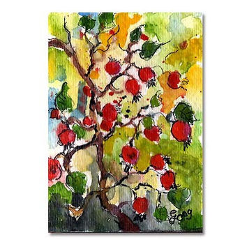 ACEO Rosehips Botanical Original  Painting by Ginette Callaway  Watercolor and Ink