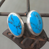 Sterling Silver 925 Turquoise Blue Style Pierced Earrings Hippie Southwest Navajo Unique Gift Womens Fashion Jewelry